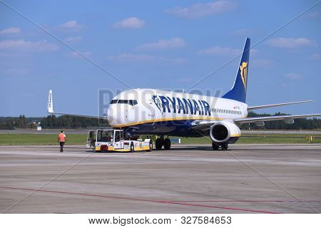 Katowice, Poland - August 22, 2018: Low Cost Airline Ryanair Boeing 737 Aircraft At Katowice Airport