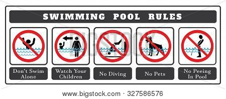Swimming Pool Rules. Set Of Icons And Symbol For Pool. No Diving Sign,no Pets Sign,no Peeing In Pool