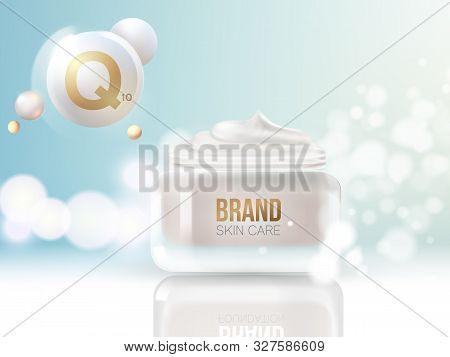 Coenzyme Q10. Collagen Serum And Vitamin Background Concept Skin Care Cosmetic.regeneration Cream.co