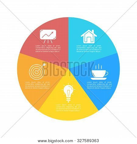 Round Infographic Template With 5 Steps For Presentation Or Chart. Business Concept Circle Diagram.