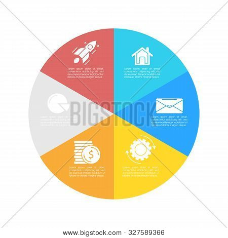 Round Infographic Template With 6 Steps For Presentation Or Chart. Business Concept Circle Diagram.