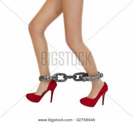 Slim Long Woman Legs In Stylish Red High Heels Shoes With Shackles