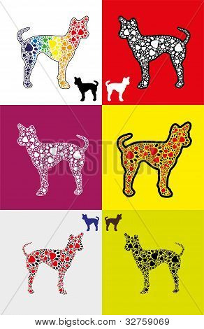 Dog Silhouette With Paw Shapes In Various  Colors
