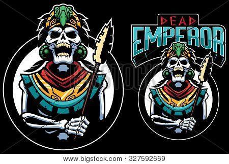 Cartoon Mascot Or Logo With Dead Inca Or Aztec Emperor.