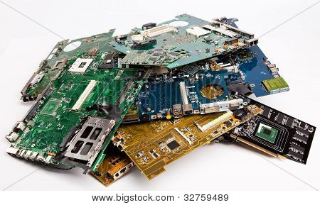 Pile Of Laptops Mother Boards