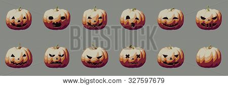 Pumpkin Smile Vintage Icons For Halloween, Scary And Creepy Autumn Vector Illustration Abstract Conc