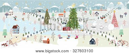 Panorama Winter Landscape, Christmas And New Year Celebrated In The City,vector Of Horizontal Winter
