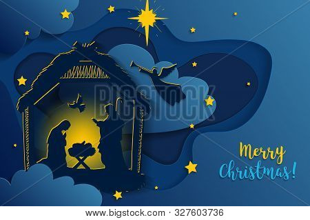 Greeting Card Of Traditional Christian Christmas Nativity Scene Of Baby Jesus In The Manger With Mar