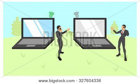 Illustration Of Two Men Standing Holding Cellphones. Man Stands Between Hyperbole Big Laptops. Lapto
