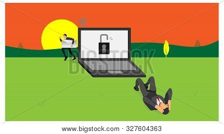 Laptop Owner Dizzy Because The Security Of His Laptop Has Been Burglarized By Other People. Illustra
