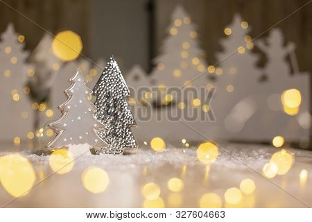 Decorative Figurines Of A Christmas Theme. Statuette Of A Christmas Tree. Christmas Tree Decoration.