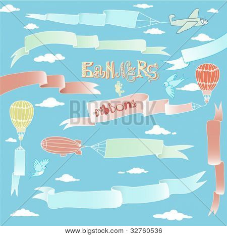 Doodle Banners and Ribbons - Set of silky hand drawn banners and ribbons carried by the planes, hot air balloons and blimps