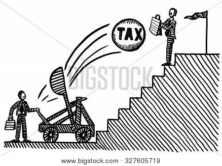 Freehand Pen Drawing Of Business Man Atop Staircase Using Briefcase To Protect Himself Against Tax C