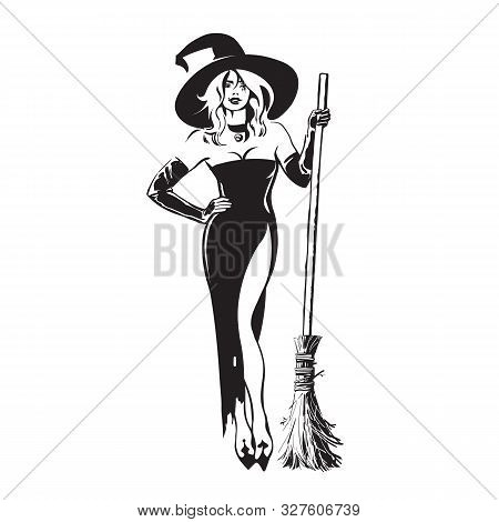 Halloween Beautiful Sexy Witch Holding Broomstick In Sketch Style. Pretty Young Woman In Witches Hat