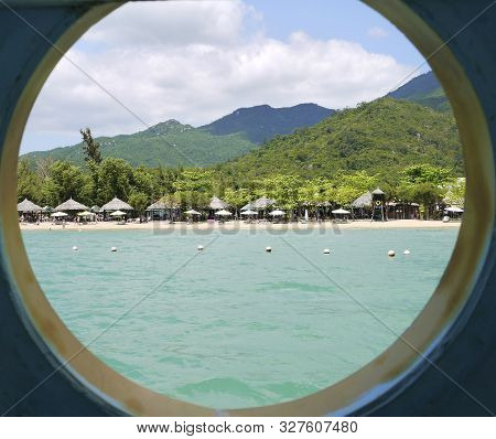 Beautiful Round Landscape, View Through The Window From The Sea