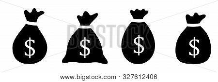 Set Of Money Bag Icon. Vector Symbol On White Background.