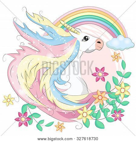 Unicorn Face. Beautiful Pony Unicorns Faces, Magic Horn In Rainbow Flower Wreath And Pony Cute Eyela