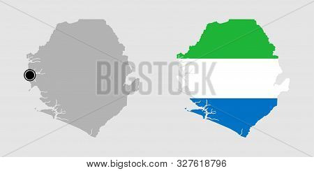 Contour Of Sierra Leone In Grey And In Flag Colors