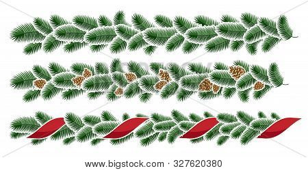 Christmas Garlands. Christmas Winter Seamless Garland. Design Element For The Festive Decoration Of