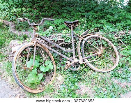 Old And Rusted Bicycle Recovered From A River