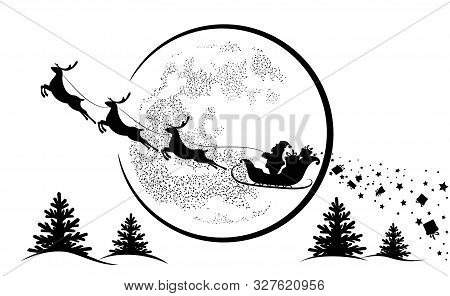 Santa Claus In Sleigh And Reindeer Sled On Background Of Full Moon. Santa Claus Flying  And Gives Gi
