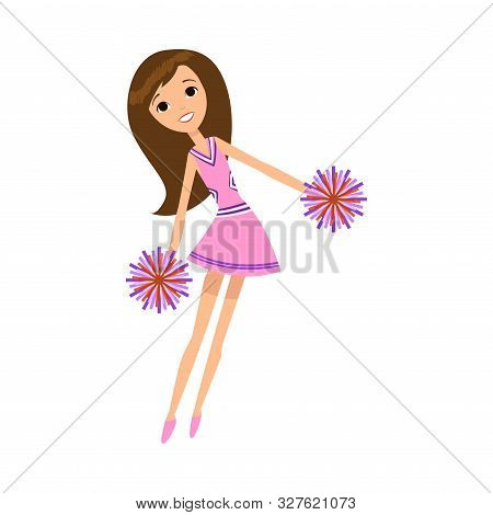 Cheerleader In Pink Dress Dancing With Pompons Vector Illustration