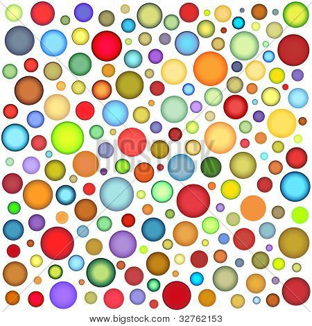 Abstract Sphere Bubble Pattern In Multiple Color On White