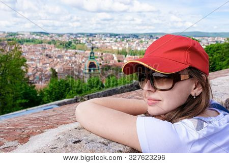 Young Girl Looking At Cityscape From Citadel Of Besancon