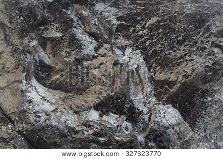 Close-up View Of Coal Mine. Raw Coal Mine Surface Close-up. Natural Black Coal Bar For Background. I