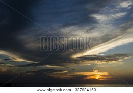 Cloudy beautiful sunset over the Caribbean Sea.