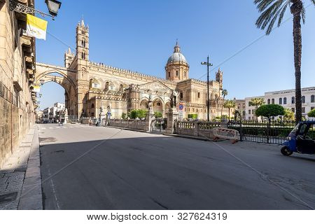 Palermo, Sicily - March 23, 2019:  The Front Left View Of The Palermo Cathedral Or Cattedrale Di Pal