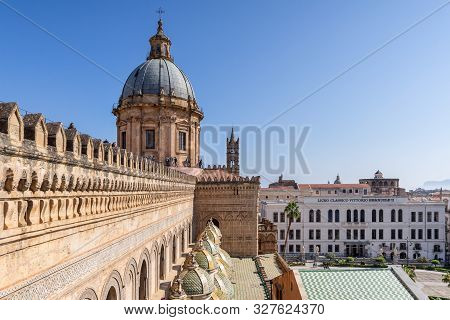 Palermo, Sicily - March 23, 2019:  Close Up View Of The Palermo Cathedral Or Cattedrale Di Palermo D