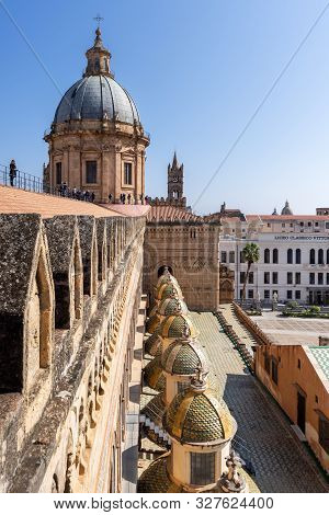 Palermo, Sicily - March 23, 2019: Close Up View Of The Palermo Cathedral Or Cattedrale Di Palermo Do