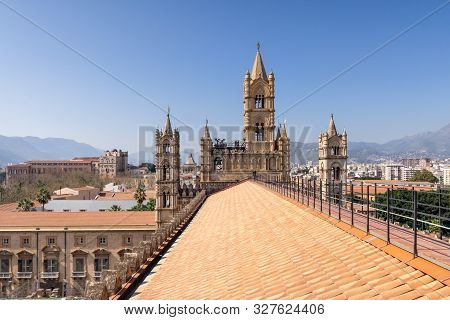 Palermo, Sicily - March 23, 2019: Rooftop View Of The Palermo Cathedral Or Cattedrale Di Palermo Bel