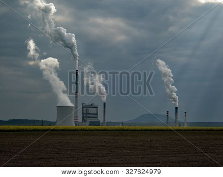 Chimneys Of A Libochovice Power Plant In Chech