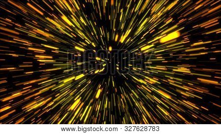 3d Rendering Hyper Jump Into Another Galaxy. Speed Of Light, Neon Glowing Rays In Motion. Computer G