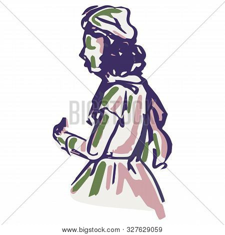 1950s Retro Woman Illustration. Hand Drawn Loose Lineart Style Of Fifties Vintage Fashion Lady Clip