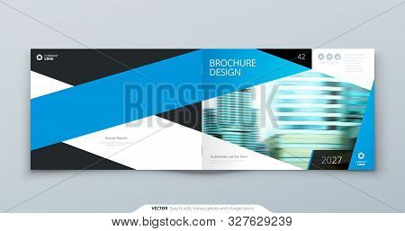 Blue Horizontal Brochure Cover Template Layout Design. Corporate Business Horizontal Brochure, Annua