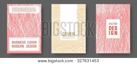 Booklet design vector layouts set. Sand and coral colors waves textures. Buzzing rippling motion background texture. Flat geometric cover leaflets. Cool booklet vector cover templates design. poster