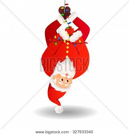 Santa Claus. Christmas Card. Funny Cartoon Santa Claus With A Huge Red Bag With Gifts. Santa Claus F
