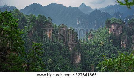 Panoramic View Of The Stone Pillars Of Tianzi Mountains In Zhangjiajie National Park Which Is A Famo