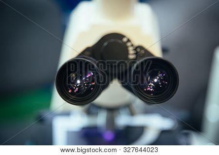 Ocular Eyepiece Lenses Of Binocular Microscope, Close Up, Selective Focus