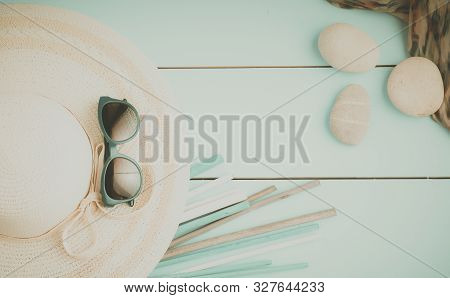 Sunglasses On Hat In Room, Travel Concept