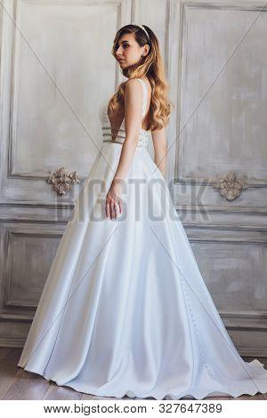Beautiful Wedding Dress. Bride In Wedding Dress. Wedding Dress In Paris. Bride In A Luxury Apartment
