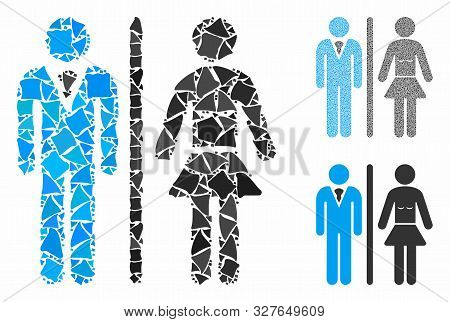 Toilet persons mosaic of unequal items in variable sizes and shades, based on toilet persons icon. Vector ragged items are organized into mosaic. Toilet persons icons collage with dotted pattern. poster