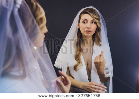 Portrait Of The Young Beautiful Bride Mirror.