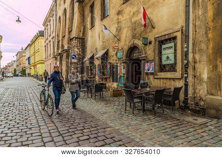 Kazimierz Krakow Poland. May 7 2019. A Street Scene In Kazimierz In Krakow