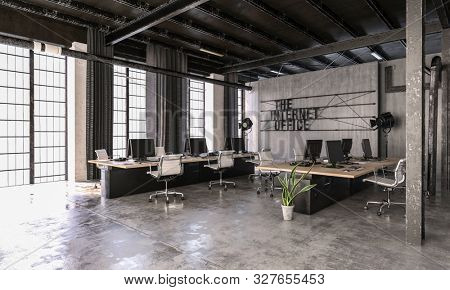 Modern trendy Internet Office in an industrial loft conversion with feature pipes and concrete walls furnished with computers at workstations. 3d rendering