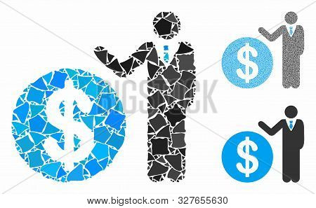 Banker Composition Of Bumpy Pieces In Various Sizes And Color Hues, Based On Banker Icon. Vector Ine