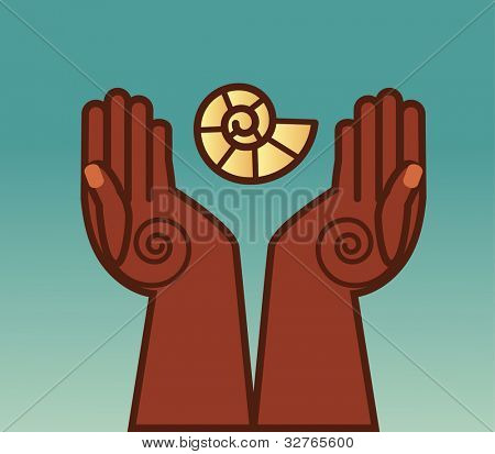 Folkart hands  use with or  without  universal spiral symbol